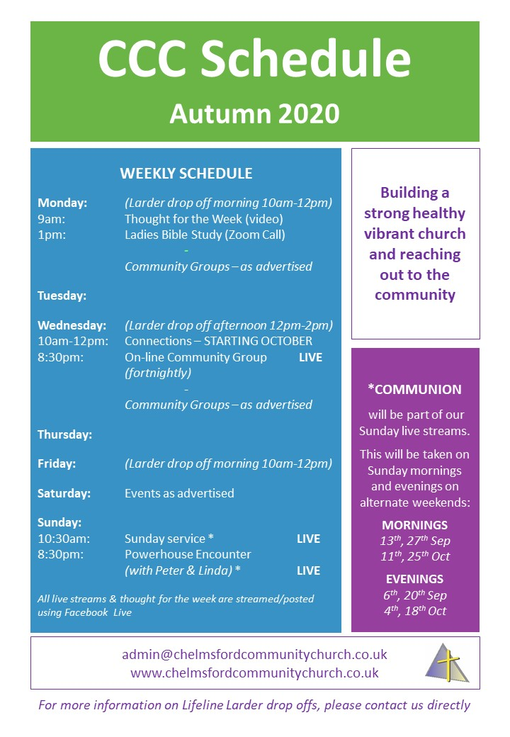 CCC Schedule Autumn 2020